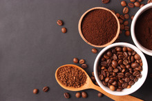 Different Types Of Coffee Top View. Coffee Beans, Instant And Ground Coffee. Fragrant Coffee Drinks. Flat Lay