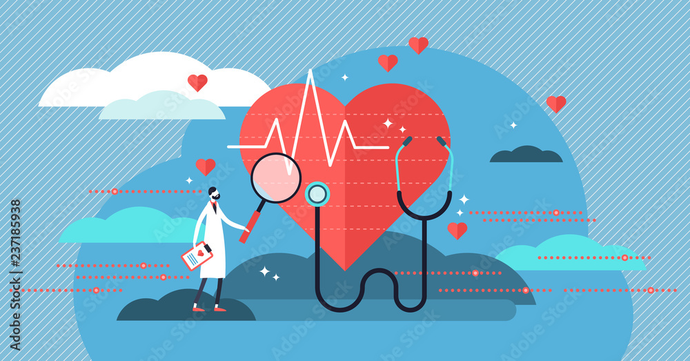 Fototapeta Cardiologist vector illustration. Mini person concept with heart health job