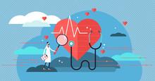 Cardiologist Vector Illustration. Mini Person Concept With Heart Health Job