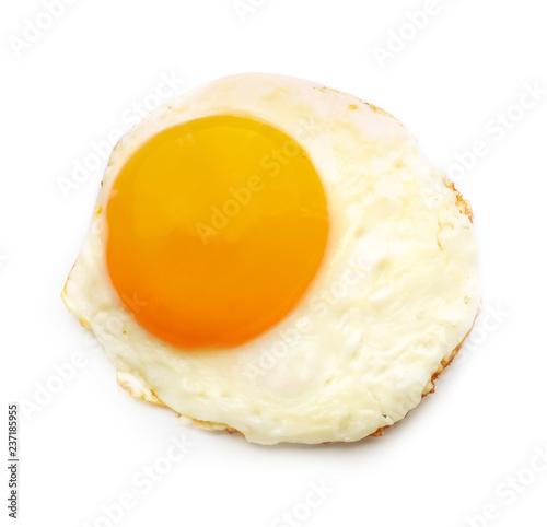 Deurstickers Gebakken Eieren Tasty fried egg on white background