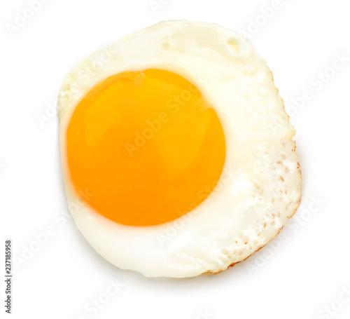 Poster Egg Tasty fried egg on white background