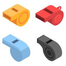 Whistle Icon Set. Isometric Se...