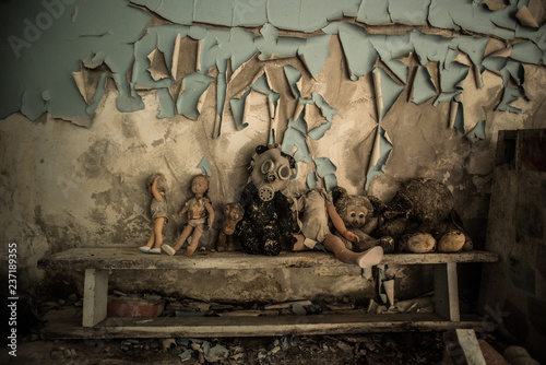 Fotografie, Obraz  The abandoned buildings of the dead city of Chernobyl