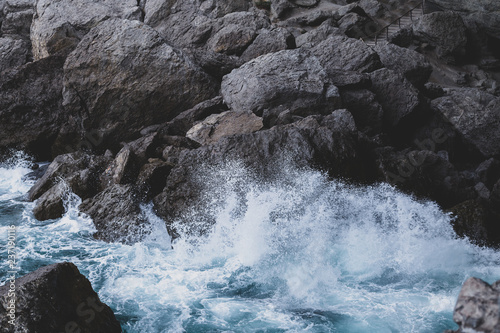 sea wave beats on stones