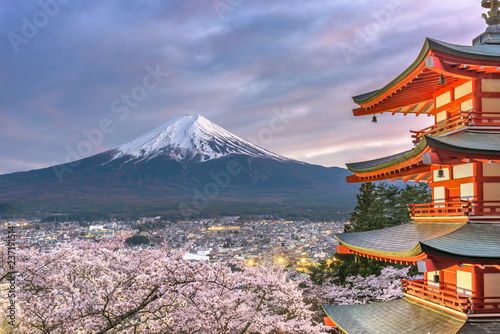 Fujiyoshida, Japan view of Mt. Fuji and Pagoda