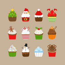 Christmas Cupcakes Vector Illustration Icon Collection. Holiday, Festive Decorated Cupcakes With Frosting. Xmas Themed Characters, Candy And Decorations. Isolated On Beige Background.