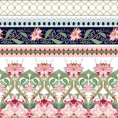 FototapetaVector set of horizontal seamless borders with motives of the paintings of ancient Indian fabrics. Tree of Life collection.