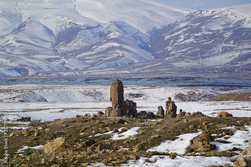 Garden Poster Natural Park view of snowy mountains in Kars, Turkey