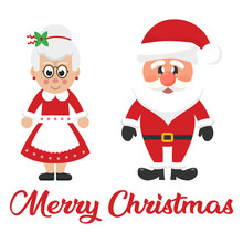 Cartoon Christmas Santa Claus And Cartoon Mrs Santa And Christmas Text