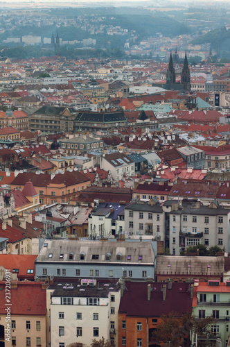 Spoed Foto op Canvas Krakau Roofs of Prague, Czech Republic. City landscape on a cloudy day.