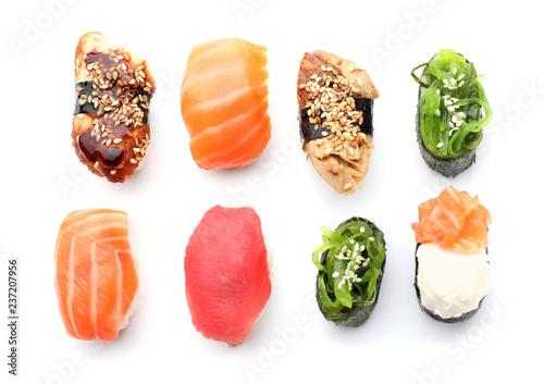 Recess Fitting Sushi bar Tasty sushi on white background
