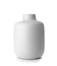 Beautiful Ceramic Vase On White Background