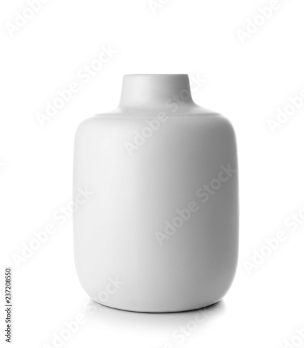 Photo  Beautiful ceramic vase on white background