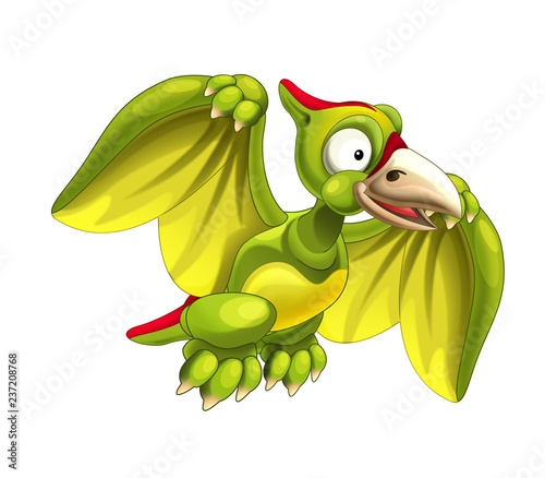 Photo Cartoon dinosaur pterodactyl on white background - illustration for children