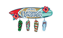 Merry Christmas And A Happy New Year In A Warm Climate Design Tropical Christmas, Holiday Greeting Card With, Christmas Decoration In Tropical Style, Christmas Style Sandals On The Beach