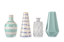 Different Vases On White Backg...