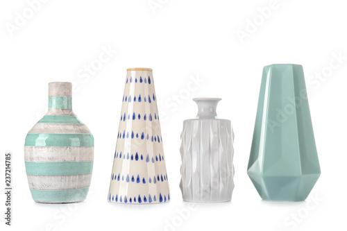 Fotografie, Tablou Different vases on white background