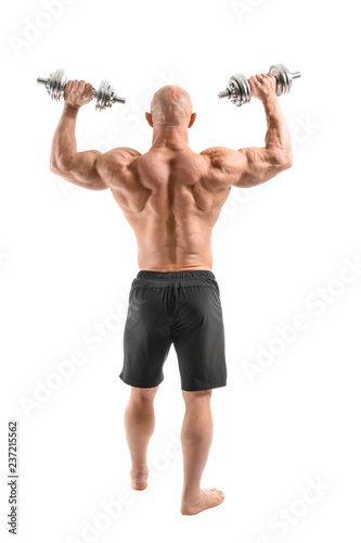 Muscular bodybuilder with dumbbells on white background