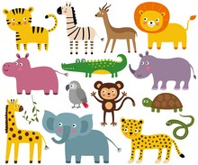 African Jungle Animals Set (elephant, Lion, Croco, Monkey And More)