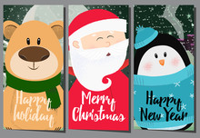 Creative Happy Holiday Poster Design With Cartoon Trio. Illustration Of Santa, Bear And Penguin. Can Be Used For Postcards, Greeting Cards, Leaflets
