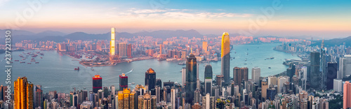 Urban Skyline and Architectural Landscape Nightscape in Hong Kong Wallpaper Mural