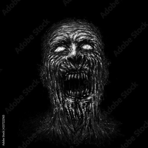 Photo  Angry zombie face on black background.