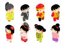 Cute Isometric Chinese Children Characters New Year Celebration Party Holiday Icons Set Flat Design Vector Illustration