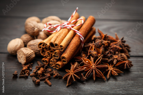 Fotobehang Aromatische Assortment of spice
