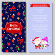 New Year party booklet design. Program booklet with cartoon characters of Santa Claus and snowman. Can be used for festive programs, party, invitations