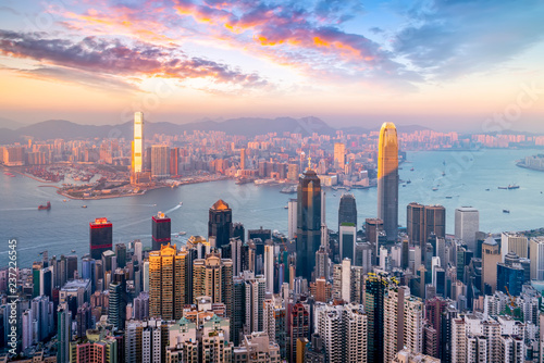 Poster Hong-Kong Hong Kong City Skyline and Architectural Landscape..