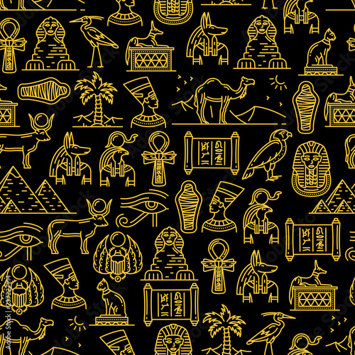 Canvas Print Egyptian seamless pattern of ancient Gods of Egypt