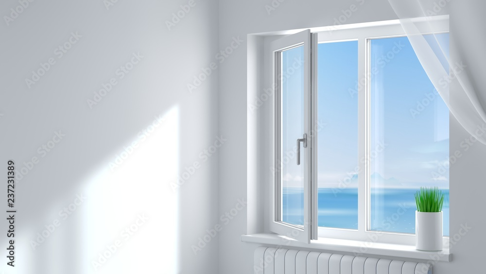 Fototapety, obrazy: White plastic window in the room
