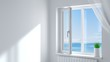 canvas print picture - White plastic window in the room