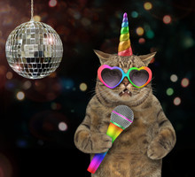 The Cat Unicorn In Rainbow Glasses Is Singing A Song At The Stage Near A Mirror Ball.