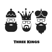 Vector Illustration On The Theme Of Three Kings.  Epiphany Day.