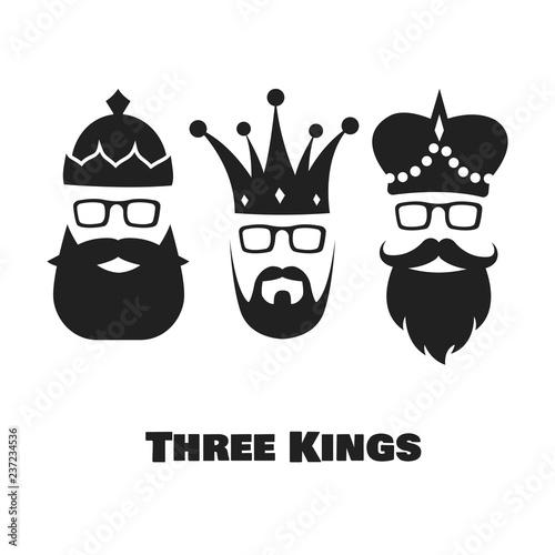 Obraz na płótnie Vector illustration on the theme of Three Kings.  Epiphany day.