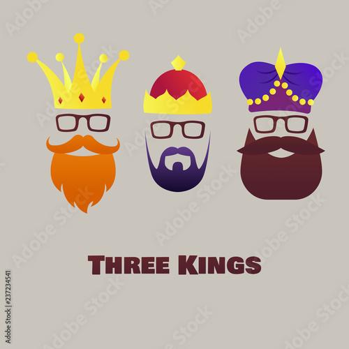 Fotografía  Vector illustration on the theme of Three Kings.  Epiphany day.