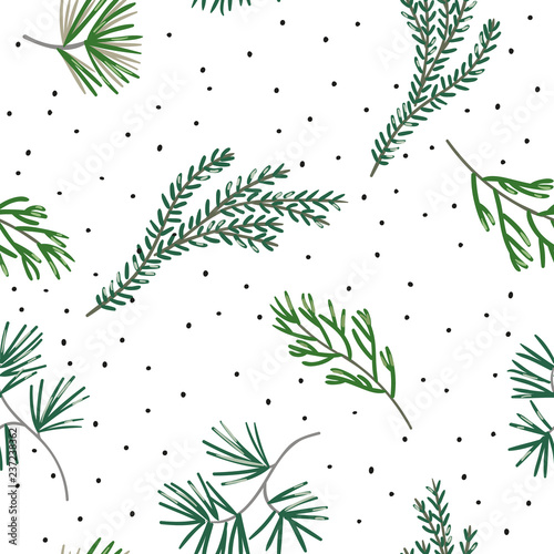 Canvas Print Christmas seamless pattern, white background