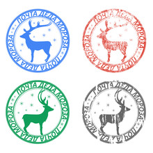 """Set Of Round Postage Stamps With Reindeer And Snowflakes. Smeared In Grunge Style. The Words """"mail Of Ded Moroz"""" In Russian"""
