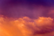 Leinwandbild Motiv A multicolored bright sky with clouds during the sunrise or sunset_