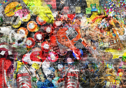 Collage in grunge style on a brick wall Fotobehang