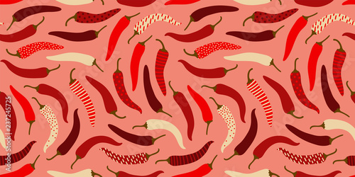 Photo  Clean easy going pepperoni peppers pattern, seamless vector repeat on plain warm background