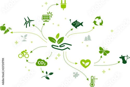 Obraz environmentally friendly technology / environmental challenges vector  - fototapety do salonu