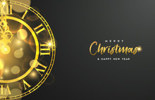 Gold Christmas And New Year Clock Greeting Card