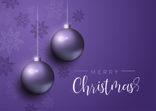 Purple Christmas Baubles Luxur...