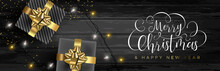 Christmas Web Banner Of Gifts On Wood Background