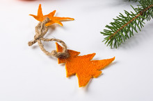 Christmas Decorations Hand Made From Tangerine Peel