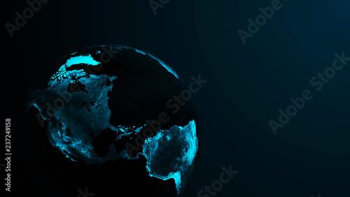 Global network planet. Exoplanet or Extrasolar planet blue color. Cosmic art background. 3D rendering.