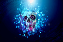 Drowning Colorful Surreal Skull At The Bottom Of The Ocean