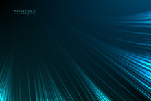 Abstract Background Glow Neon Blue Light Lines. Energy Flash Luminous Glow Ray Trace Glitter. Digital Technology Futuristic Style. Vector Design Illustration.